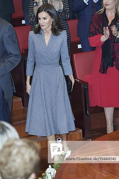 Queen Letizia of Spain attends the delivery the Award of the Observatory against Domestic and Gender Violence 2019 at Consejo General Poder Judicial on November 26  2019 in Madrid  Spain