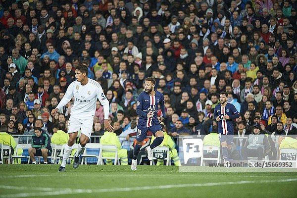 Neymar (forward  Paris Saint-Germain) in action during the UEFA Champions League match between Real Madrid and Paris Saint-Germain at Santiago Bernabeu Stadium on November 26  2019 in Madrid  Spain