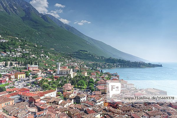 Malcesine  panoramic view from the castle tower. Veneto. Italy.