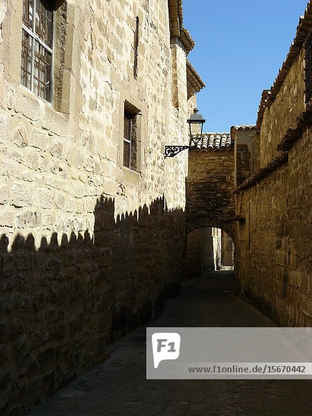 Baeza (Jaén) Spain. Narrow street surrounding Baeza Cathedral.