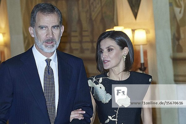 King Felipe VI of Spain  Queen Letizia of Spain attended the 'Francisco Cerecedo' journalism award to Javier Cercas at Palace Hotel on November 28  2019 in Madrid  Spain