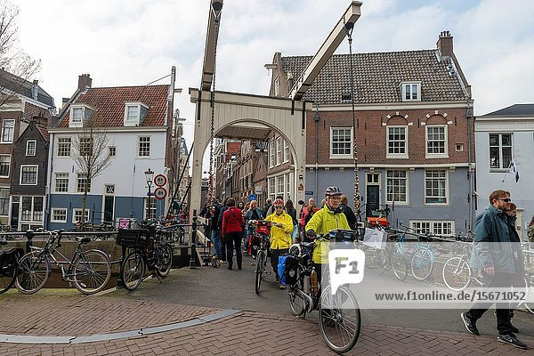 Europe Netherlands Amasterdam : 2018 Typical everyday view of the Amsterdam street life.