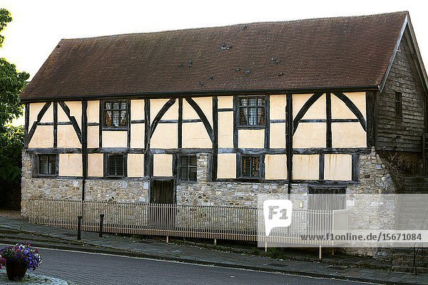 14th century timbered house.Westgate Hall and Westgate in the old medieval walls of Southampton  Hampshire  UK.