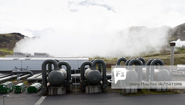 Hellisheidi sustainable energy geothermal power plant station in Hengill  Iceland. Geothermal outlets for steam.