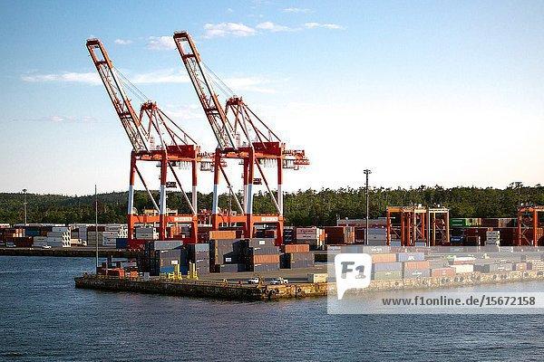 Canada  halifax harbour. Container ship terminal. Halterm Container Terminal.