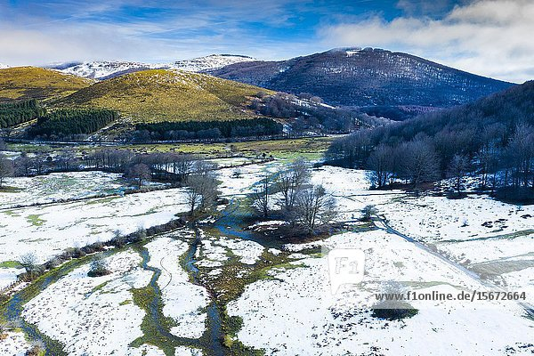 Pasture and mountains in winter. Valley of Ulzama. Navarre  Spain  Europe.