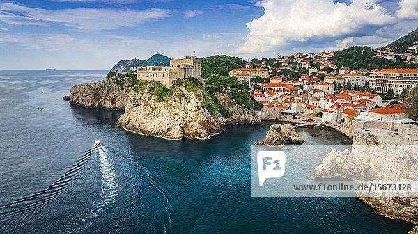 Lovrijenac Fortress above the blue Adriatic  old town Dubrovnik  Dalmatian Coast  Croatia.