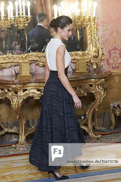 Queen Letizia of Spain attends United Nations Conference on Climate Change (COP25) reception at Royal Palace on December 2  2019 in Madrid  Spain