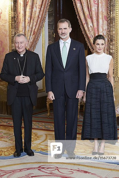 King Felipe VI of Spain  Queen Letizia of Spain  Pietro Parolin attends United Nations Conference on Climate Change (COP25) reception at Royal Palace on December 2  2019 in Madrid  Spain