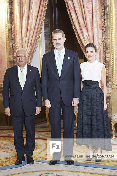 King Felipe VI of Spain  Queen Letizia of Spain  Antonio Costa attends United Nations Conference on Climate Change (COP25) reception at Royal Palace on December 2  2019 in Madrid  Spain