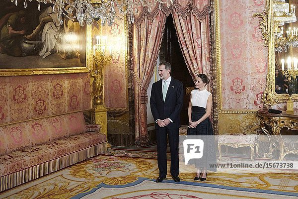 King Felipe VI of Spain  Queen Letizia of Spain attends United Nations Conference on Climate Change (COP25) reception at Royal Palace on December 2  2019 in Madrid  Spain