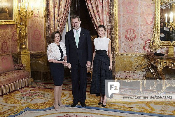 King Felipe VI of Spain  Queen Letizia of Spain  Nancy Pelosi attends United Nations Conference on Climate Change (COP25) reception at Royal Palace on December 2  2019 in Madrid  Spain