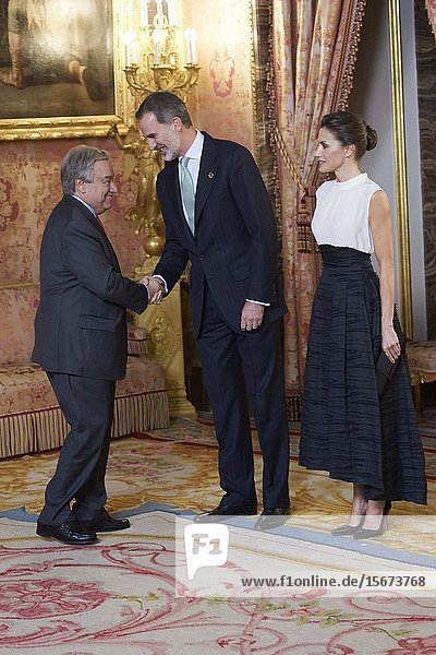 King Felipe VI of Spain  Queen Letizia of Spain  Antonio Guterres attends United Nations Conference on Climate Change (COP25) reception at Royal Palace on December 2  2019 in Madrid  Spain