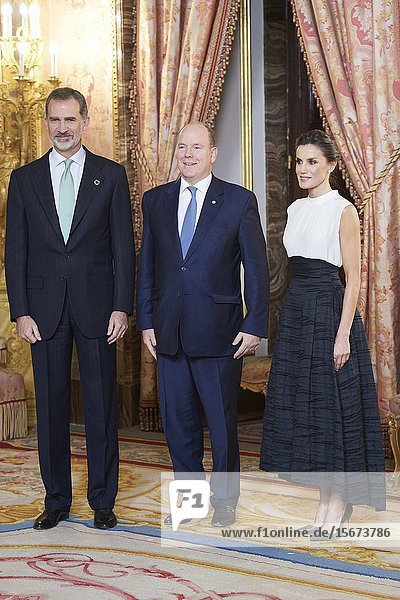 King Felipe VI of Spain  Queen Letizia of Spain  Albert II  Prince of Monaco attends United Nations Conference on Climate Change (COP25) reception at Royal Palace on December 2  2019 in Madrid  Spain