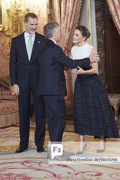 King Felipe VI of Spain  Queen Letizia of Spain  Mauricio Macri attends United Nations Conference on Climate Change (COP25) reception at Royal Palace on December 2  2019 in Madrid  Spain