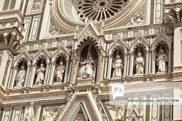 Duomo Cathedral front entrance facade. Florence Italy.