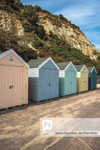 Colourful beach hut at Bournmouth beach in Dorset  England  UK.