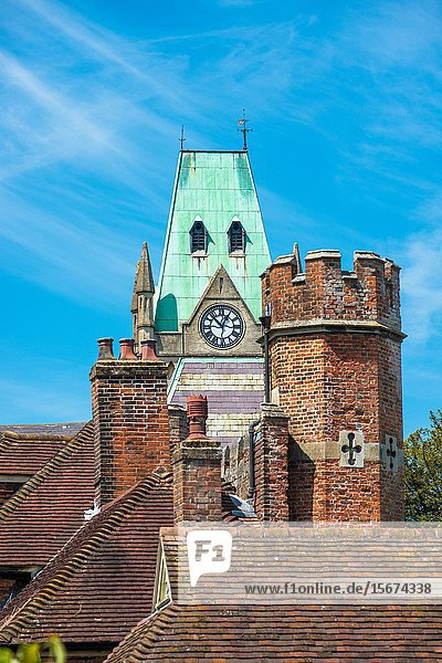 Rooftops of Abbey House the Guildhall in the background  Winchester  Hampshire  England  UK.