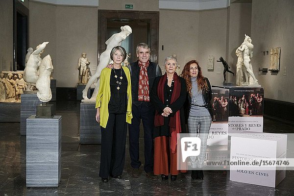 Actor Jeremy Irons  Valeria Parisi  Sabina Fedeli attends 'The Prado Museum. A Collection of Wonders' Photocall at The Prado Museum on December 4  2019 in Madrid  Spain