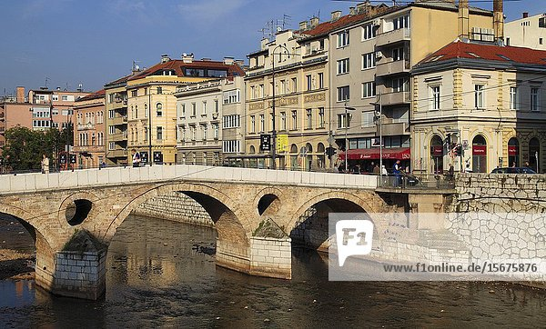 Bosnia and Herzegovina  Sarajevo  Latin Bridge  Miljacka River.