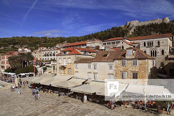 Croatia  Hvar  skyline  Fortress  St Stephen Square  architecture  people.