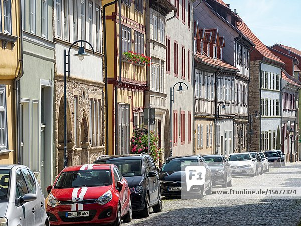 Old town houses buildt with traditionl timber framing The medieval town Muehlhausen in Thuringia. Europe  Central Europe  Germany.