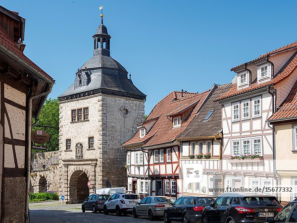 The Frauentor (Womans Gate). The medieval town Muehlhausen in Thuringia. Europe  Central Europe  Germany.