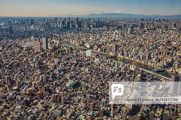 View of Tokyo from Tokyo Sky Tree. In the background Mount Fuji. Sumida river. Sumida Neighborhood. Tokyo. Japan.