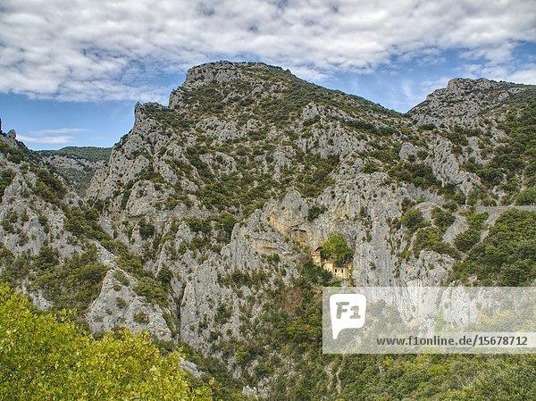 Hermitage  Galamus Gorge  Pyrenees-Orientales  Occitanie  France.