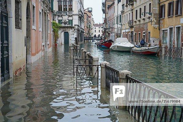 Fondamenta di Rio Marin during the high tide in Venice  november 2019  Venice  Italy  Europe.