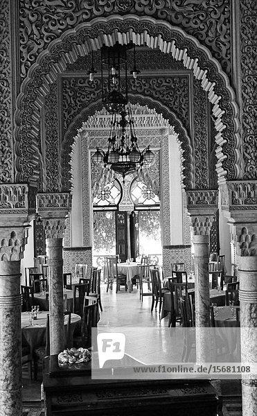 Cuba's tourist attraction: The Interior design of Batistas old palace San Valle in Cienfuegos.