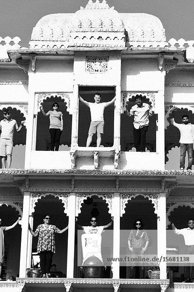A press group posing at the old Maharadscha Palace in Poshina.