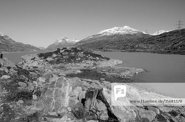 Switzerland: Mountain-Trekking in the Swiss Alps at the glacier Lake Bianco on the Bernina Hospitz.