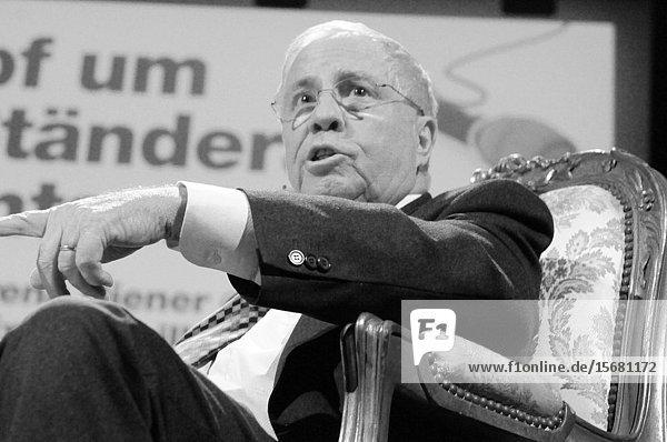 Switzerland: Dr. Christoph Blocher  former swiss councillor at a podium in Kaufleuten in Zürich City.