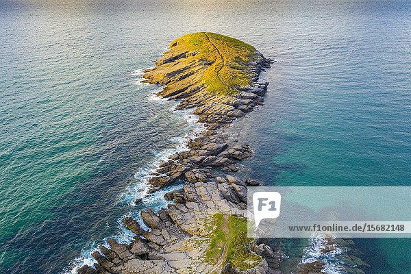 Coastal landscape. Punta Sonabia o La Ballena (The whale) Cantabria  Spain  Europe.