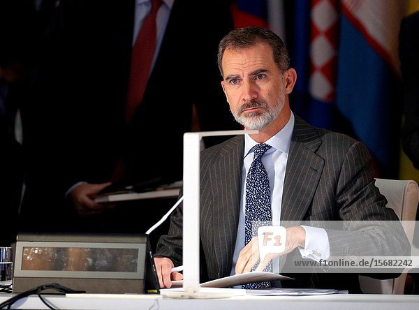 King Felipe VI of Spain attends the 14th ASEM Foreign Ministers Meeting at El Pardo Palace on December 16  2019 in Madrid  Spain