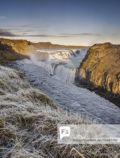 Winter  Gullfoss  Waterfalls  Iceland.