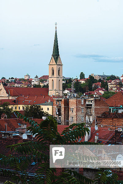 View of church in cityscape