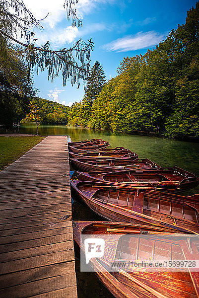 Wooden rowing boats moored in lake
