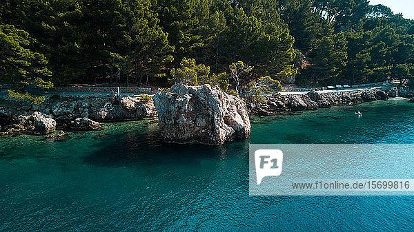 Small rocky island in sea
