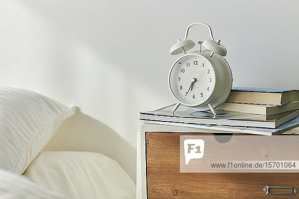 Alarm clock in a bedroom