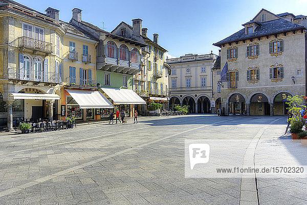 Italy  Piedmont  Domodossola  Piazza del Mercato  Teatro Galletti on background