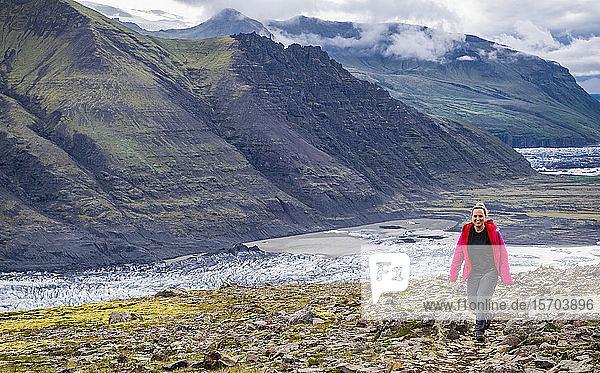 Female hiker trekking  Skaftafell National Park  Iceland