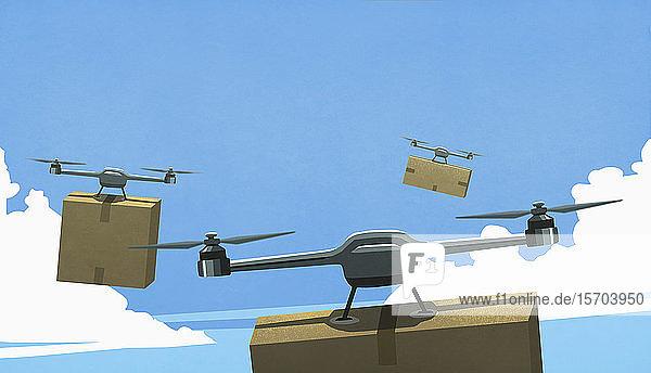 Drohnen fliegen am Himmel und liefern Pappkarton-Pakete aus