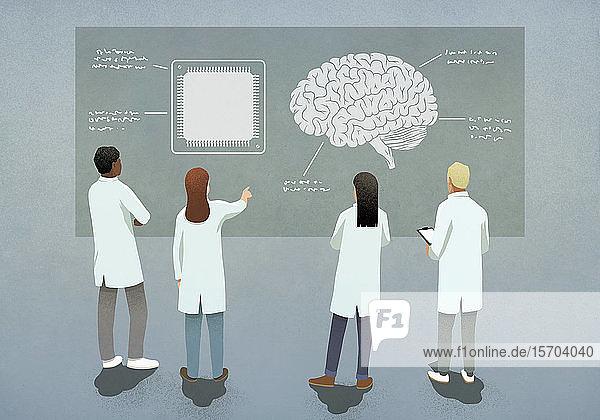 Wissenschaftler vergleichen Computerchip und Gehirndiagramm