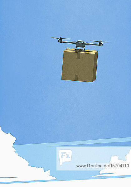 Drone in sky delivering cardboard box