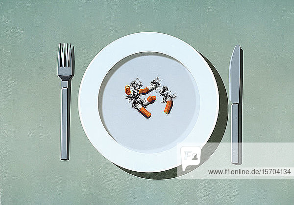 Cigarette butts on plate