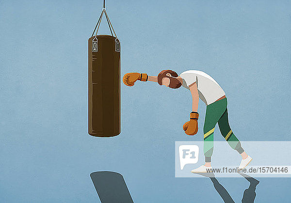 Tired man boxing at punching bag