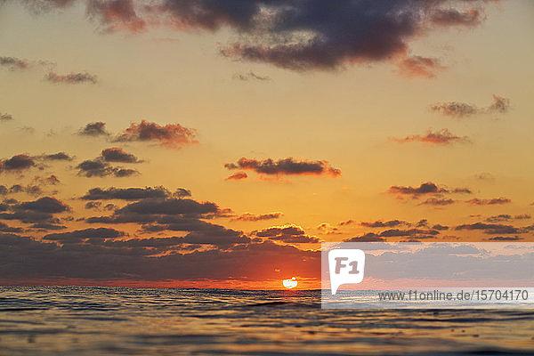 Tranquil sunset over ocean horizon  Punta de Mita  Nayarit  Mexico