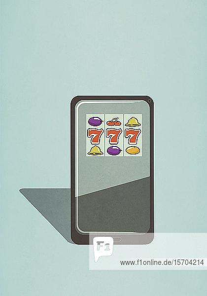 Spielautomatenspiel auf dem Bildschirm eines Smartphones